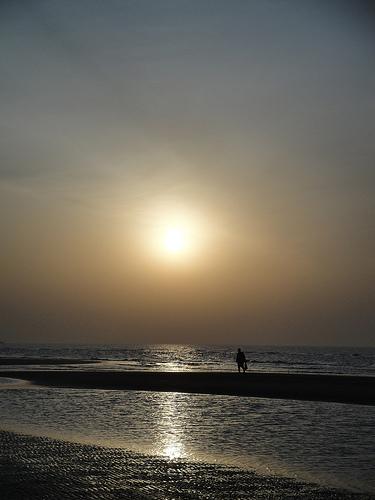 京唐港日出&早起的渔夫
