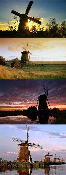荷兰,桑斯安斯风车村。从阿姆斯特丹往北15公里,便可看到风车朝气蓬勃地转动着