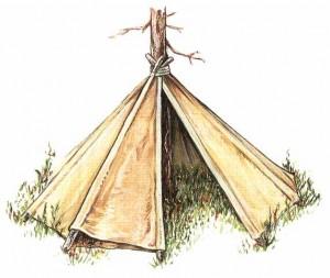 布制圆形小屋,这是围绕着树建的